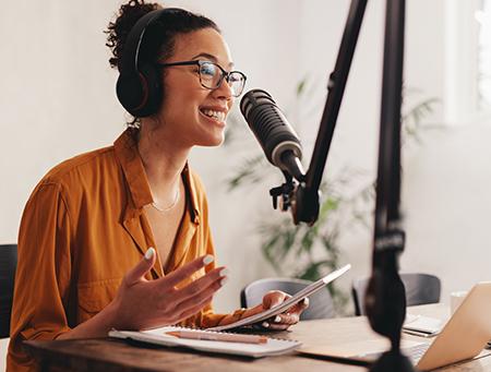 Female podcaster